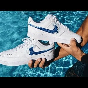 Nike Airforce 1 Custom Painted Shoes (Wave)
